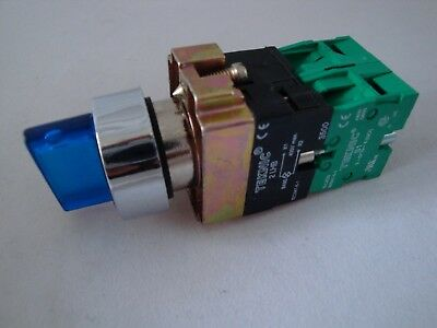 Illuminated Selector Switch 3 Position Spring Return Blue with 2 N/O Contacts