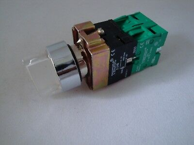 Illuminated Selector Switch 3 Position Spring Return Clear with 2 N/O Contacts