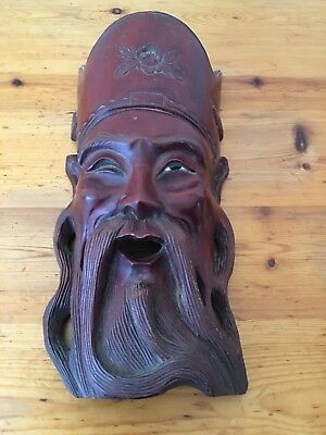 Antique Solid Wood Carved Oriental Wall Mask - Chinese Immortal