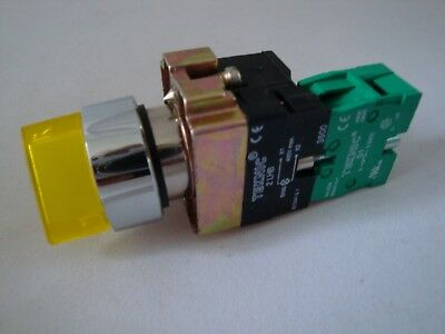 Illuminated Selector Switch 2 Position Stayput Yellow with 1 N/O Contact