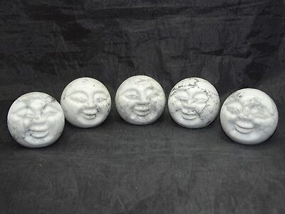 """2"""" (50Mm) D. White Howlite Moon Face Carving - 1 Piece - Best Price"""