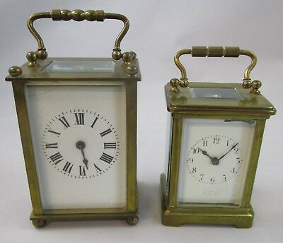 French Carriage Clock Lot of 2 Parts Repair Only Brass