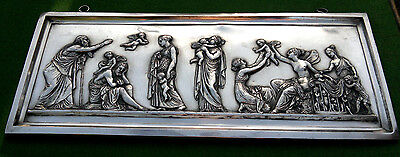 """After Bertel Thorvaldsen - Antique Silverplate Relief Plaque  """"Ages of Love"""""""
