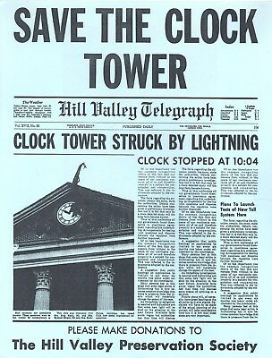 Marty McFly Back to the Future Save Clock Tower Flyer Michael J Fox Delorean