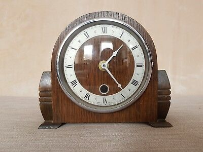 Art Deco Wooden Mantle Clock Quartz Battery - Working