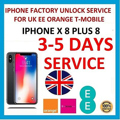 Factory Unlocking Service For iPhone X 8 Plus 8 - UK EE Orange Tmobile