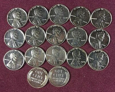 Nice High Grade Lot Of 40 1943 Mixed Steel Penny Wheat Cent 17-P - 21-D - 2-S