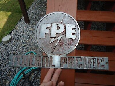 "Vintage Electric Company Sign, Federal Pacific Electric, 15X9"" Nickled Brass"