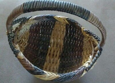 Native American River Cane Egg Buttocks Basket With Bottom Rim