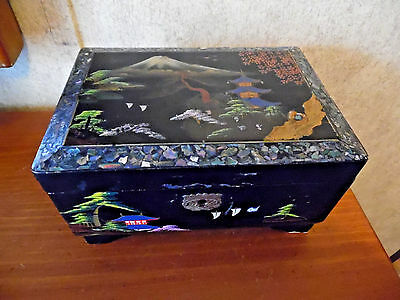 Antique Asian Jewelry Box With Mirror & Abalone Shell Border