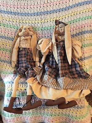 Pair Vintage Handmade Bunny Bunnies Rabbit Doll Clothes Easter Farmhouse Rustic