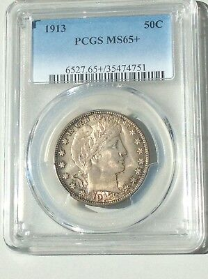 1913 Barber Half Dollar Pcgs Ms65+ Original Toning