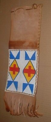 vintage native american beaded pipe bag 6 x 17 inches leather