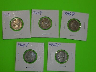 Five Jefferson Nickels Mixed Date Wholesale lot