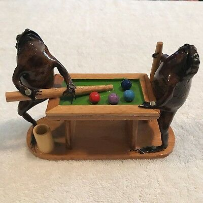 Taxidermy frogs playing shooting pool man cave billiards real frogs