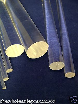 """Clear Acrylic Perspex Round Rod Circular Bar 4"""" To 12"""" Long 3Mm To 50Mm Diameter"""