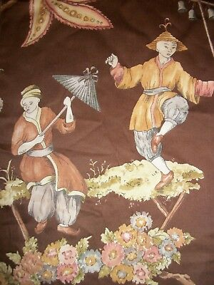 Stroheim & Romann Sample Fabric-Cathay Pastoral Screen Printed in Chestnut