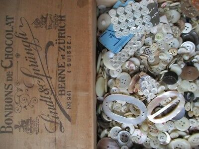 HUGE COLLECTION ANTIQUE VINTAGE MOTHER of PEARL BUTTONS OLD LINDT CHOCOLATE BOX
