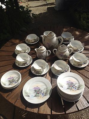 Final Reduction Vintage  Porcelain China Tea Set With Japanese Scene.