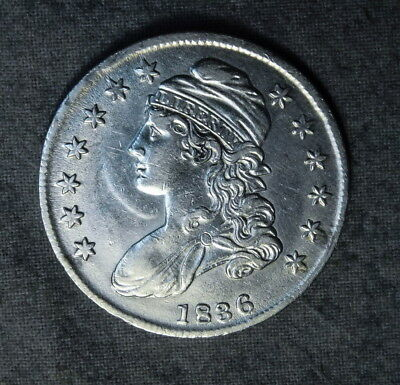 1836 CAPPED BUST HALF DOLLAR AU DETAILS cleaned