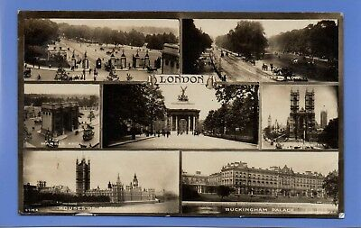 Old Vintage 1917 Rp Postcard Views Of London Hyde Park Marble Arch
