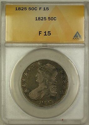 1825 Capped Bust Silver Half Dollar 50c Coin ANACS F-15