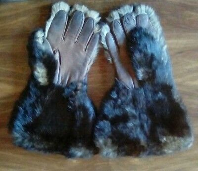 Rare Vintage Leather and Real Fur Driving Gauntlets / Gloves