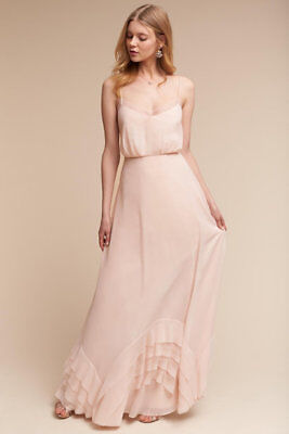 New Watters & Watters BHLDN Dove Boho Ice Pink Maxi Delicate Bridesmaid Dress