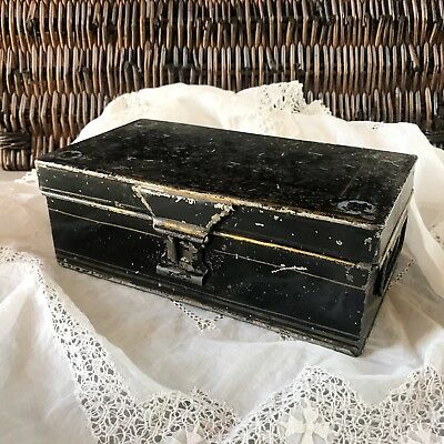 Antique Victorian metal box Vintage black metal memory Chest