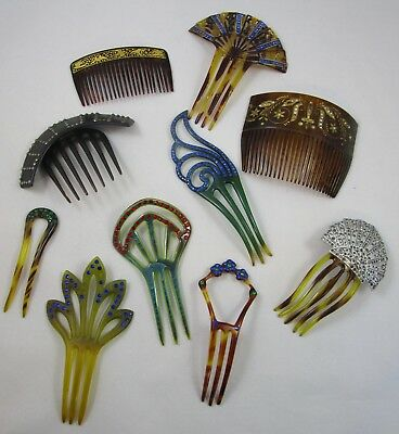 Hair Combs Barrettes Clips Lot of 10 Vintage Plastic Celluloid Rhinestone
