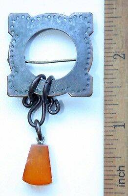 Antique Vintage Ethnic Brass Brooch Pin Sakta Fibula With Amber (MAR)