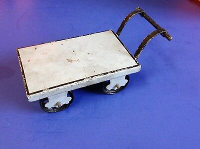 Antique Vintage Marklin Hand Painted Tin Railroad Baggage Cart For Train Station