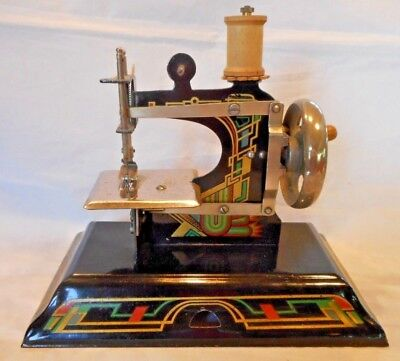Antique CASIGE Child's Metal Toy Sewing Machine British Zone Germany WORKS-NICE!