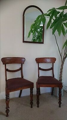 A Pair of William IV Mahogany Dining Chairs with Drop In Seats