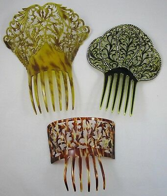 Hair Combs Barrettes Clips Lot of 3 Large Vintage Plastic Celluloid Rhinestone