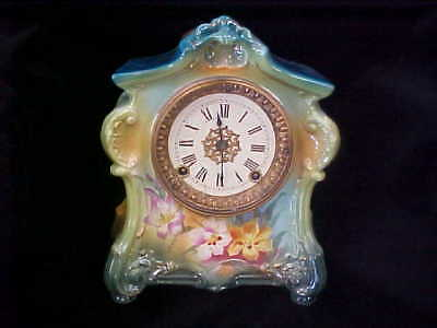 Antique  Royal Bonn Germany La Fontaine Porcelain Clock late 1800's Great Shape