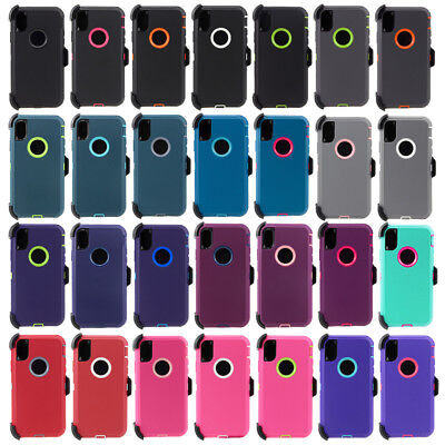 iPhone X XS Max XR Case Shockproof Armor Defender Cover (Belt Clip Fit Otterbox)