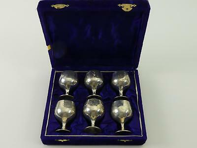 (ref165EY 12) Six vintage silver plated cups goblets 6cm tall