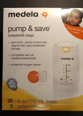 Medela Pump and Save Breastmilk bags 20- 5 oz bags and 2 adapters