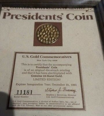 President's Coin 24 Karat Plated US Gold Commemorative Inauguration Year 1981