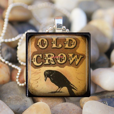 Old Crow Square Glass Tile Necklace, Silver Bezel Pendant, Art Jewelry Halloween
