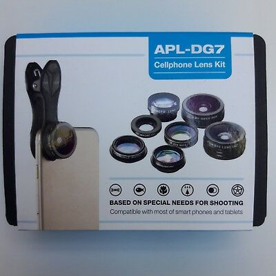 APEXEL 7 in 1 Universal Clip-On Cell Phone Camera Lens Kit, Professional HD Zoom