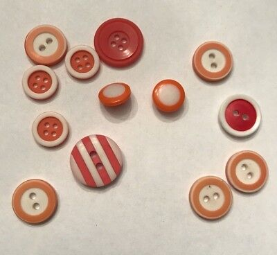 Lot of 13 Vintage Orange, Red & White Mod  Buttons 1/2 - 3/4 inch