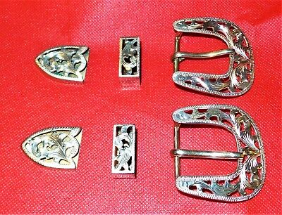 Vogt Sterling Silver Overlaid Filigree 3 Piece Buckle Set - Marked Nr