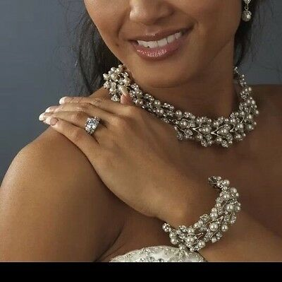 Bridal Wedding Necklace Earring Bracelet Jewellery Set Party Crystal White Pearl