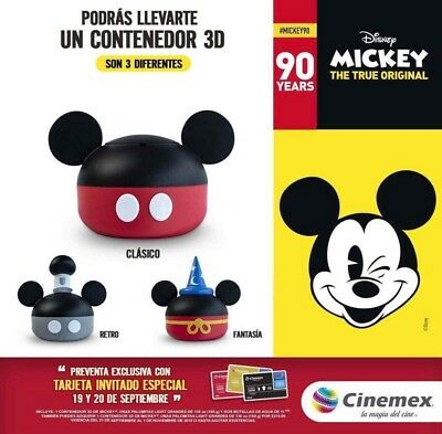 Mickey Mouse Sorcerer Popcorn Bucket 90th Anniversary Mexico Cinemex