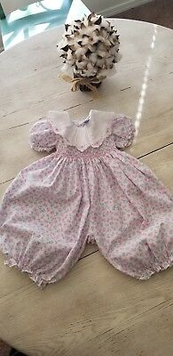 Vintage Carriage Boutiques Toddler Girls Smocked Floral Romper One piece~ 6 mths