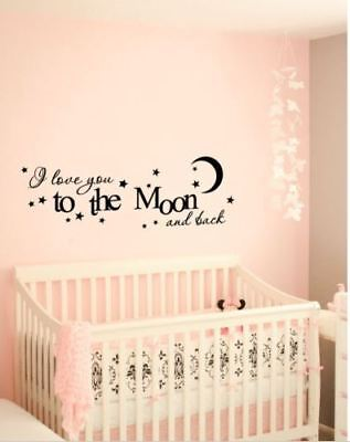 Vinyl Wall Decal Sticker I love you to the moon &back Nursery Kids FREE SHIPPING