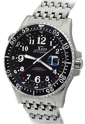 Xezo Air Commando 300M WR Pilot Swiss Made ETA Automatic Watch 856469005243