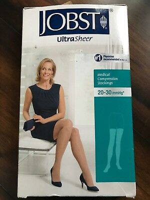 Jobst Women's Sheer Medical Compression Stockings Open Toe Thigh High Petite XL